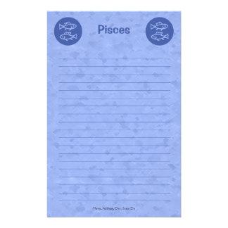 Blue Pisces Zodiac Personalized Stationery