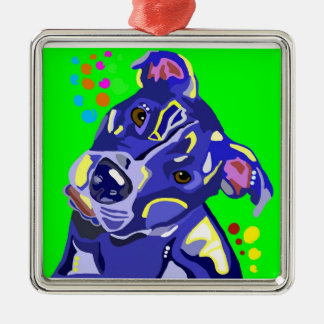 Blue Pit Bull Terrier Christmas Ornament