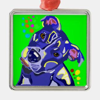 Blue Pit Bull Terrier Christmas Ornament