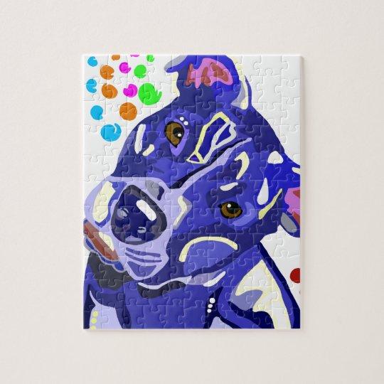 Blue Pit Bull Terrier Puzzle