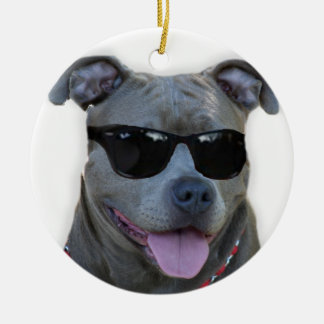 Blue pitbull with glasses christmas ornament