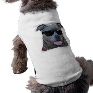 Blue pitbull with glasses sleeveless dog shirt