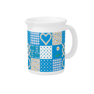 Blue Pitcher or Jug: Daisychains, Faux Patchwork
