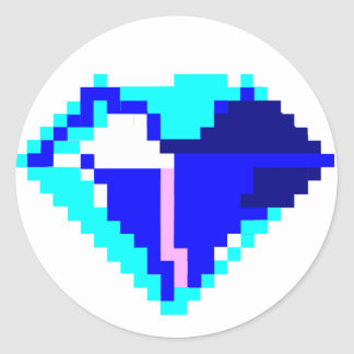 Blue Pixel Gem Stickers
