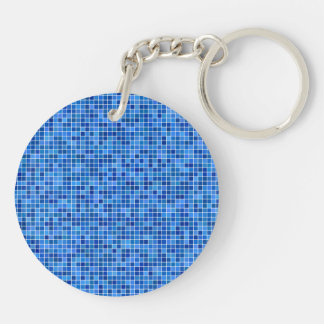 Blue pixel mosaic key ring