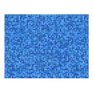 Blue pixel mosaic postcard