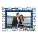 Blue Plaid and Hanukkah Word Fun Photo Card 13 Cm X 18 Cm Invitation Card
