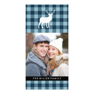 Blue Plaid and White Stag | Holiday Card