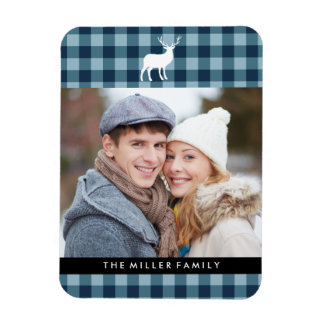 Blue Plaid and White Stag | Holiday Magnet