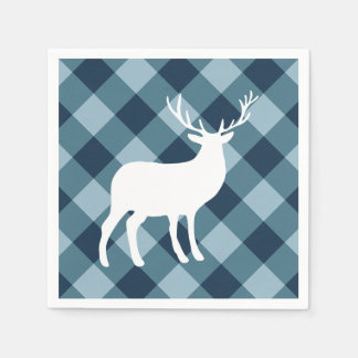Blue Plaid and White Stag | Holiday Paper Serviettes