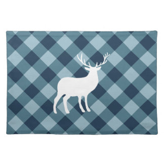 Blue Plaid and White Stag | Holiday Placemat