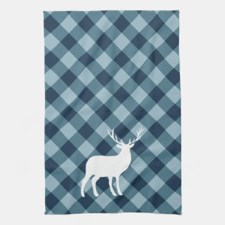 Blue Plaid and White Stag | Holiday Tea Towel