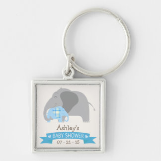 Blue Plaid Baby Elephant Baby Shower Key Chain