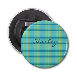 Blue Plaid by Shirley Taylor Bottle Opener