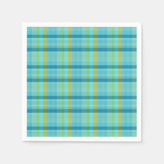 Blue Plaid by Shirley Taylor Paper Napkin