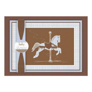 Blue Plaid Carousel Horse Baby Shower Invitation