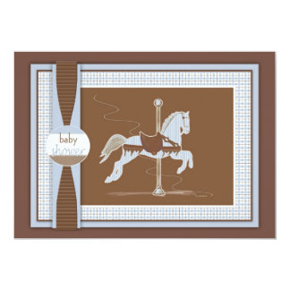 Blue Plaid Carousel Horse Baby Shower Invitation
