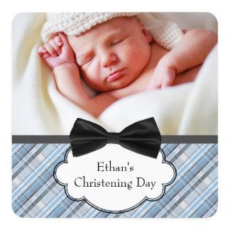 Blue Plaid Christening 13 Cm X 13 Cm Square Invitation Card