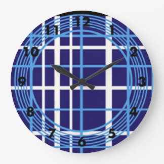 Blue Plaid Circles Design Wall Clock