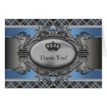 Blue Plaid Crown Little Prince Thank You Cards