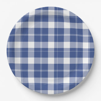 Blue Plaid For Hanukkah Words Holiday Paper Plates