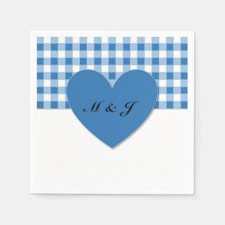 Blue Plaid Heart Monogram Paper Napkin for Wedding