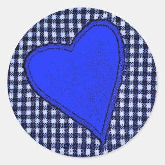 Blue Plaid Heart Round Sticker