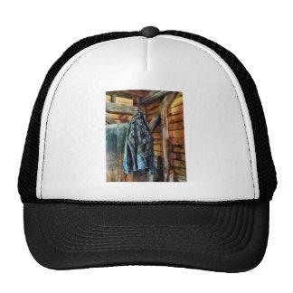 Blue Plaid Jacket in Cabin Trucker Hats