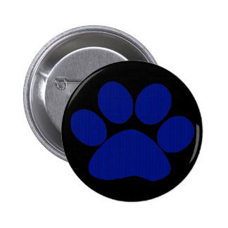 Blue Plaid Paw Print 6 Cm Round Badge