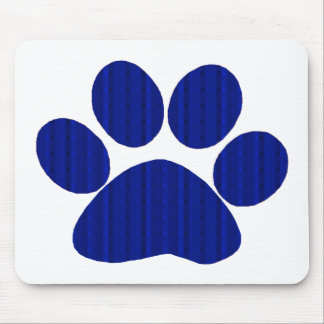 Blue Plaid Paw Print Mouse Mat