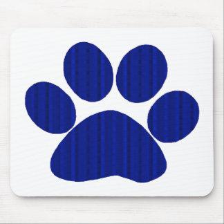 Blue Plaid Paw Print Mouse Pad