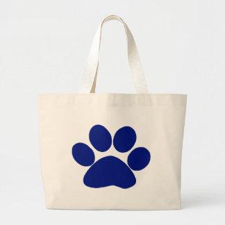 Blue Plaid Paw Print Canvas Bag