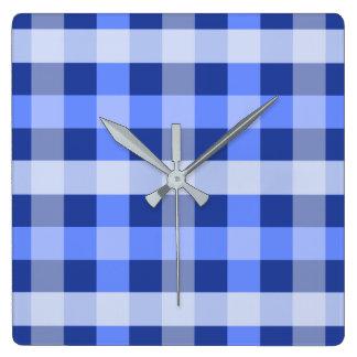 Blue Plaid Square Wall Clock