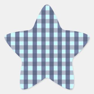 Blue Plaid Star Stickers