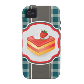 Blue Plaid with cupcake iPhone 4/4S Cases