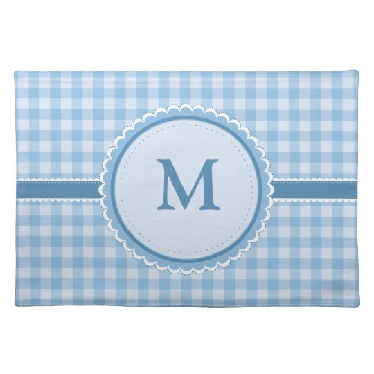 Blue Plaid || Your Initial || Custom Place Mats