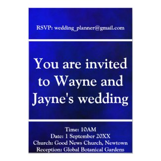 Blue Plasma Wedding Invitation