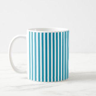 Blue Plastic Vertical Stripes Basic White Mug