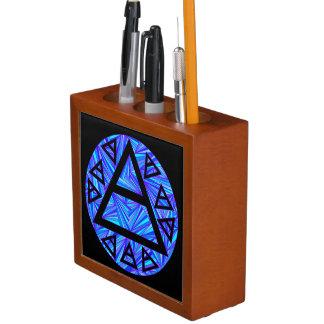 Blue Plato's Air Symbol New Age Art Pen Caddy Desk Organizers