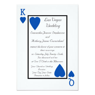 Blue Playing Card King/Queen Wedding Invitations