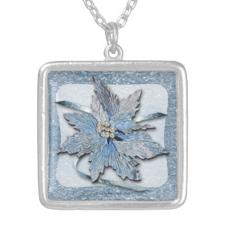 Blue Poinsettias on Silver Square Pendant Necklace
