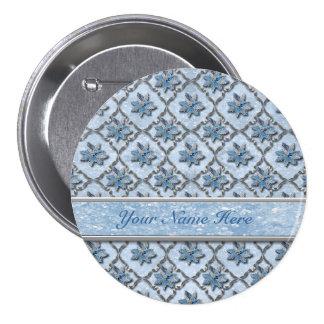 Blue Poinsettias Silver 7.5 Cm Round Badge