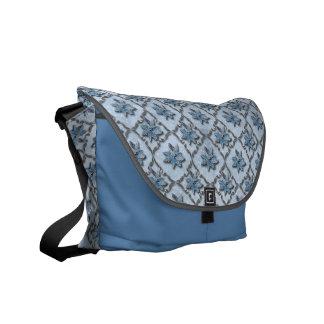 Blue Poinsettias Silver Courier Bags