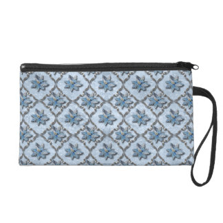 Blue Poinsettias Silver Wristlet