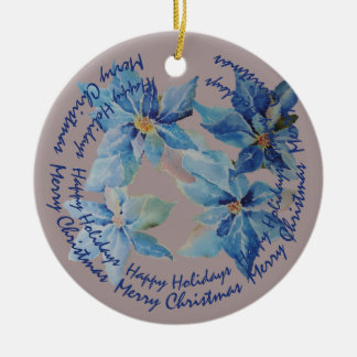 Blue Poinsettias with Your Circular Text Christmas Ornament