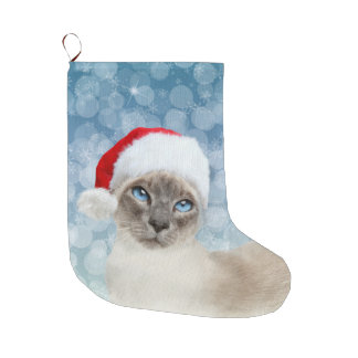 Blue point Siamese cat Christmas Large Christmas Stocking