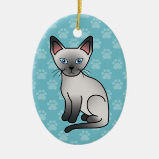 Blue Point Siamese Cat Cute Cartoon Illustration Christmas Ornament