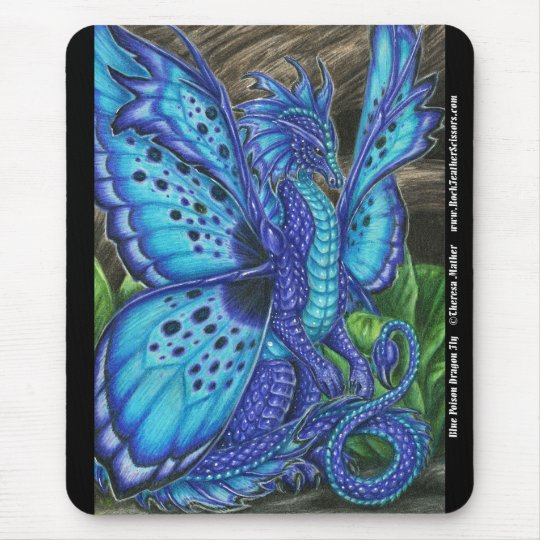 Blue Poison Dragon Fly Mousepad