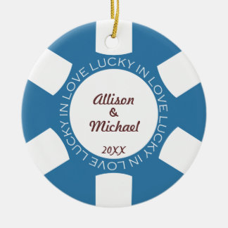 Blue poker chip lucky in love couple photo vegas christmas ornament
