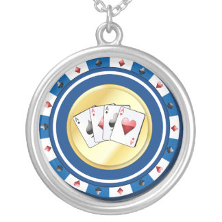 Blue Poker Chip with Quad Aces Necklace